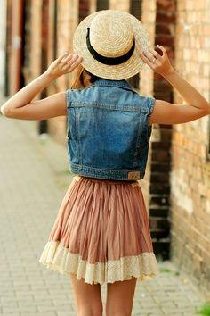 Love this outfit. find more women fashion on misspool.com: Summer Fashion, Summer Outfit, Denim Vest, Jean Vest