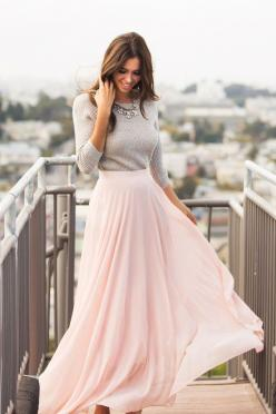 Maxi Skirts, Long Skirts – Morning Lavender: Pink Sweater, Long Flowy Dress, Maxi Skirt Outfits, Long Skirts, Winter Skirt Outfit, Outfits With Maxi Skirt, Flowy Skirt, Long Skirt Outfit, Maxi Skirts