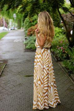 OUTFIT: | Mustard-Gold and Cream Maxi Dress + Gold Jewelry + Wavy Hair + ADD Dark Stone Grey, Fuschia, Magenta, Silver, Bronze, Light Cream-Gold Metallic Flats, OR Moss Green FLATS!