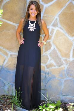 sheer maxi  CLICK THE PIC and Learn how you can EARN MONEY while still having fun on Pinterest: Heart Racing, Dress Black, Statement Necklaces, Dream Closet, Gorgeous Maxi, Black Maxi Dresses, Wedding Outfit, White Statement Necklace, Navy Blue Maxi Dress