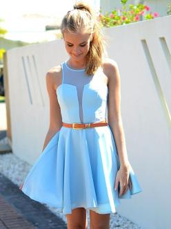 Simple and structured!: Baby Blue, Summer Dresses, Cute Dresses, Dream Closet, Illusion Neckline