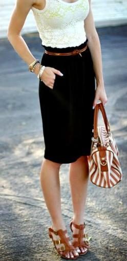 Very Classy and Chic with Lace Dress Handbag & heels: Lace Tops, Dream Closet, Lace Tank, Spring Summer, Black White, Black Skirts, Workoutfit, Work Outfits, Black Pencil Skirts