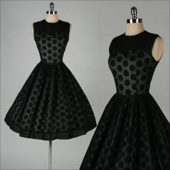 A vintage silhouette that looks good on all body types! Match with pearls for a classic look or add a large statement necklace to go modern.: Polka Dots, Statement Necklace, Polkadot, Black Chiffon, Vintage Dress, 1950 S, Polka Dot Dress