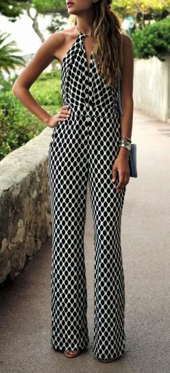 Black + White Pattern Jumpsuit -- 60 Stylish Spring Outfits For Your 2015 Lookbook: Jumpsuits Rompers, Fashion, Street Style, Dress, Black White, White Pattern, Spring Outfit