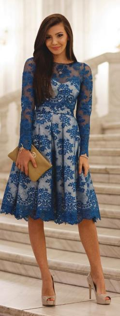 Chic In The City- Blue Lace White Lined Midi Dress- #LadyLuxuryDesigns: Midi Dresses, Street Style, Fancy Dress Outfits, White Lace Dresses, Blue And White Lace Dress, Red White And Blue Outfit, Lace Midi Dress Sleeve, Blue Lace Dress Outfit