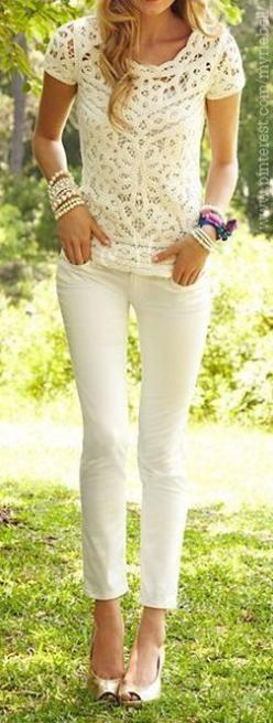 Crochet detail top and skinnies decent combo