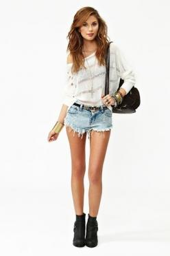 -cute white sweater, blue ripped denim shorts, gold bangles, black purse, black booties spring/summer outfit-