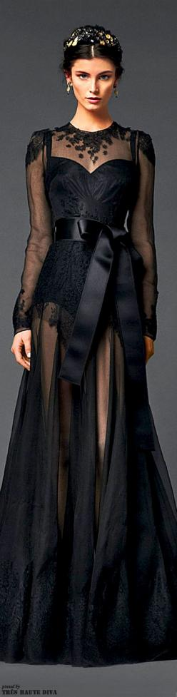 Dolce & Gabbana Winter 2014. Love the top of this dress.  Not so crazy about the sheer skirt.