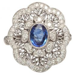Edwardian Sapphire And Diamond Flower Ring, ca. 1910