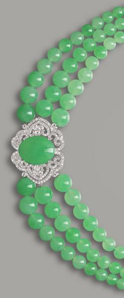 JADEITE AND DIAMOND NECKLACE Set to the front with a translucent jadeite cabochon of apple green colour, to an openwork surround set with circular-cut diamonds, completed by a triple-strand graduated jadeite bead necklace, to a clasp set with jadeite cabo