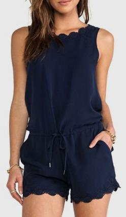 Joie Carenza Lace Trim Romper in Dark Navy | REVOLVE