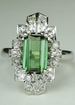 Long Green Tourmaline Art Deco Diamond Ring Vintage item from the 1920s. Platinum 14kt White Gold Diamonds Tourmaline.