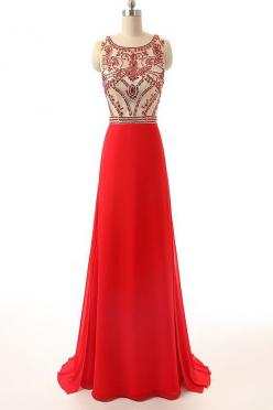 Long Prom Dress Red Chiffon Beaded Cheap Evening Gowns