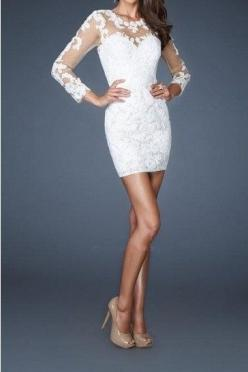 Long Sleeve White Lace short Cocktail Party Dress Slim Formal Evening Prom Gown on Etsy, $99.00