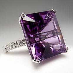 Natural Emerald Cut Amethyst & Diamond Cocktail Ring 14K White Gold