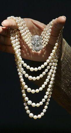 Princess Margaret's Art Deco Pearl and Diamond Necklace.