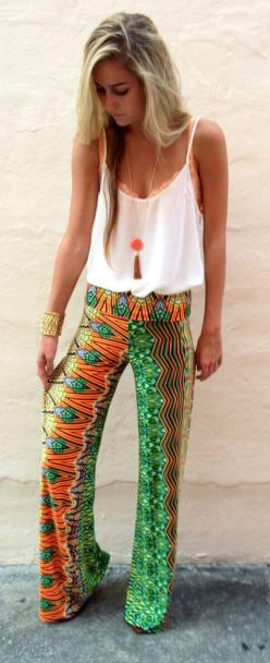 Seriously, can I just have 50 of these pants in different colors and patterns?: Colorful Pant, Summer Outfit, Style, Palazzo Pants Summer Boho, Summer Hippie Outfits, Summer Pants, Awesome Pants, Bright Summer Dresses, Palazzo Pants Outfit Summer