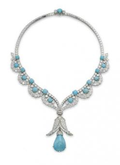 Van Cleef & Arpels turquoise and diamond necklace  #jewellery #jewelry