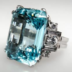 Vintage 16 Ct Aquamarine Cocktail Ring w Diamonds Solid Platinum Estate Jewelry | eBay