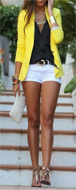 White Shorts With Yellow Blazer and Necklace: Summer Fashion, Summeroutfit, Summer Outfit, Summer Style, Longer Short, White Short, Yellow Blazer