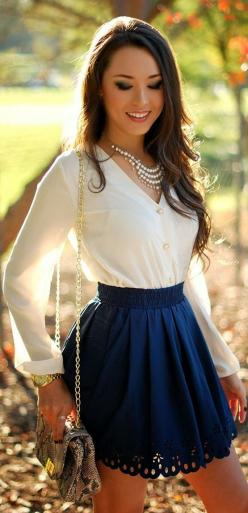 Amazing White Blouse with Blue Mini Skirt and Suitable Long Bag: Style, Dream Closet, Cute Outfits, Blue Skirts, Dress, Night Outfit, Pretty Outfit, White Blouses, Longer Skirt