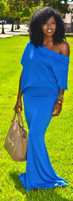 Electric Blue Off Shoulder Maxi Dress...I can guarantee I will have either this dress or its first cousin THIS summer! Mission is on! :-): Closet Effortless, Wedding Color, Hair Clothes, Blackwomen Naturalhair, Blue Maxi Dresses, Jersey Dresses, Color Hmm
