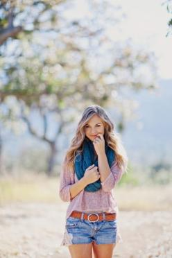 Flowy top, Jean shorts & a scarf... Love this for Spring!: Senior Picture, Dream Closet, Summer Style, Cute Outfits, Spring Summer, Infinity Scarf, Summer Outfits, Spring Outfit