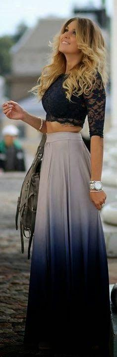 Love the skirt! Good LAWD they forgot the rest of the top! Lol: Summer Outfit, Dream Closet, Lace Top, Long Skirts, Maxiskirt, Lace Crop Tops, Maxi Skirts