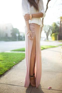 Loveee: Fashion Style, Dream Closet, High Slit, Maxiskirt, Long Skirts, Slit Skirt, Slit Maxi, Maxi Skirts