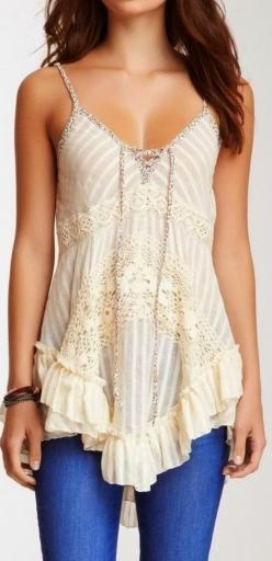 Lovely embellished half white blouse | HIGH RISE FASHION: Cute Tops, Lace Tops, Dream Closet, Spring Summer, Outfit, Boho Lace, Summer Top