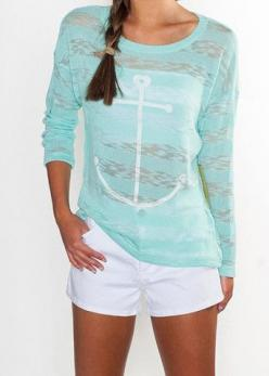 Mint Seaside Summer Knit - Shirt | Suite One: Summer Shirts, Anchors, Anchor Shirts, Seaside Summer, Cute Summer Outfits, Summer Top