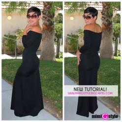 NEW TUTORIAL!!! Off The Shoulder Maxi: Long Black Dresses, Maxi Dresses, Cute Dresses, Outfit, Maxi Dress Tutorials, Mimi Style, Off The Shoulder Maxi Dress
