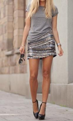 Simple Tee & Glammed up Skirt. As simple as this is, all eyes will be on you when you walk in the room.: Sequin Skirt, Fashion Style, Style Inspiration, Grey Tee, Sparkly Skirt