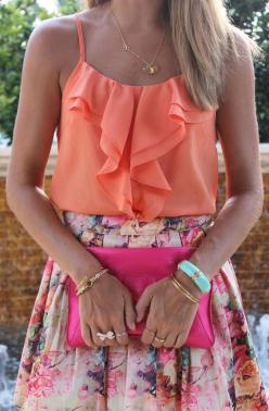 summer weddings: Summer Fashion, Floral Skirts, Spring Color, Summer Outfit, Dream Closet, Summer Style, Spring Summer, Spring Outfit, Orange Pink