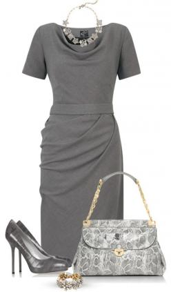 "This is something I would wear when working as a CPA, one of my many personalities. ""Gray dress"" by marincounty on Polyvore: Classic Polyvore, Grey Dress Work, Grey Dress Outfit, Work Outfit, Gray Dress Outfits, Grey Dresses, Classy Gray, Gray Dre"
