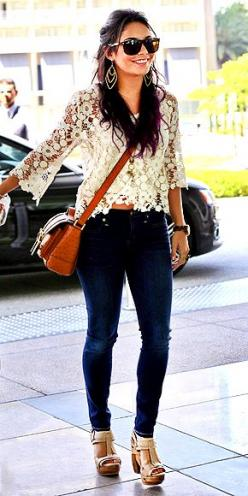 VANESSA HUDGENS  Saving your lace for nighttime? Vanessa proves you don't have to wait till the sun sets to break out this sexy trend. Her sweet white top, worn with dark denim skinnies and platform sandals, feels just right for brunch with the girls or a