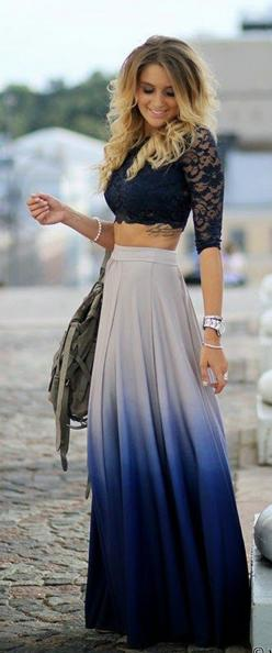 Visit us at https://www.facebook.com/pages/Zarah/1578754045707532: Crop Tops, Tattoo Placement, Ombre Maxi, Lace Top, Dream Closet, Fall Outfit, Maxi Skirts