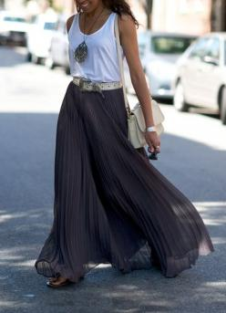 white tank, grey maxi, statement necklace... just add leather biker jacket for a great transition: Pleated Maxi Skirt, Longskirt, Summer Style, Spring Summer, Long Skirts, Maxi Skirts, Flowy Skirt