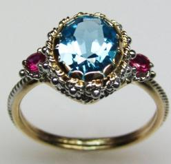 Blue Topaz & Ruby Ring by FernandoJewelry on Etsy, $635.00