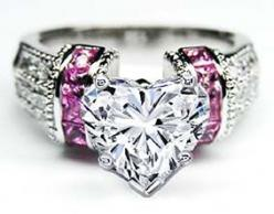 Found the ring I want. And I showed him. Heart Shape Diamond Engagement Ring Square Pink Sapphire Band in 14K White Gold