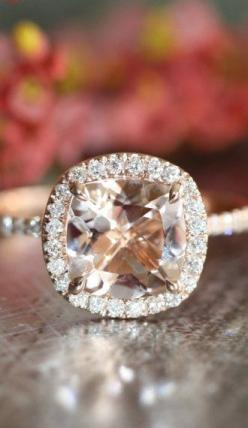Halo Diamond Morganite Engagement Ring in 14k Rose Gold