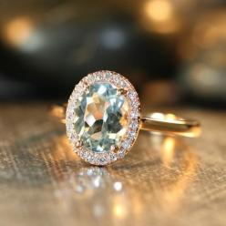 Handmade Natural Aquamarine Engagement Ring 9x7mm Oval Aquamarine Wedding Ring Halo Diamond Ring 14k Rose Gold (Ready to Ship Size 7)