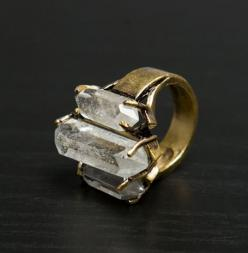 Low Luv by Erin Wasson, small triple crystal ring in gold