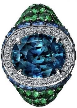 Robert Procop Sapphire, Diamond & Tsavorite Cocktail Ring | HT