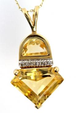 Vintage 14k Yellow Gold and Golden Topaz Diamond Pendant Necklace with Chain