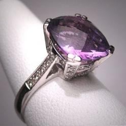 Vintage Amethyst Diamond Wedding Ring