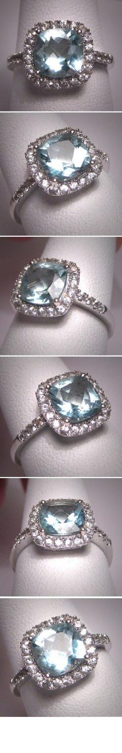 Vintage Aquamarine Ring- with yellow diamond