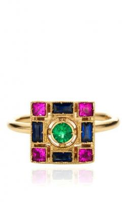 White Gold Ring with Emeralds, Blue Sapphires And Pink Sapphires by Sabine G