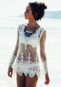 White Patchwork Embroidery Wavy Edge Grenadine Loose T-Shirt: Boho Chic, Summer Outfit, Lace Top, Long Sleeve, Boho Style