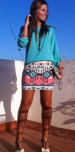 """""""A cream pink and blue tribal print skirt with a teal long sleeve shirt. Pair this with light brown or cream accessories."""": Summer Outfit, Print Skirt, Dream Closet, Spring Summer, Tribal Skirts, Cute Skirts"""